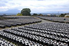 晴れていれば桜島と大隅半島が見渡せる風光明媚な坂元醸造の「壺畑」。